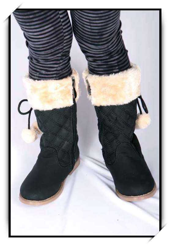 chaussures bottes fille enfant simili cuir fourre hiver 25 26 27 28 29 30 b919 noir chaussures. Black Bedroom Furniture Sets. Home Design Ideas